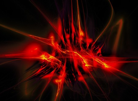 suggesting: A dark fractal suggesting space,flames, and danger