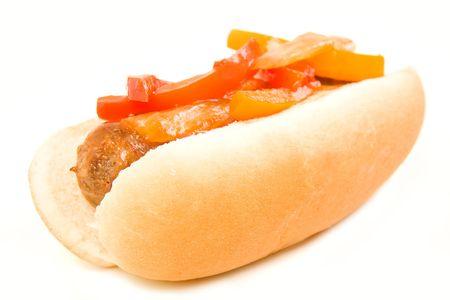 italian sausage: Italian Sausage and peppers on a bun Stock Photo