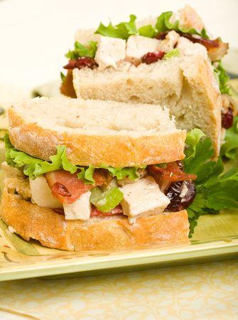 pancetta cubetti: Insalata di pollo sandwich con pancetta, noci e mirtilli