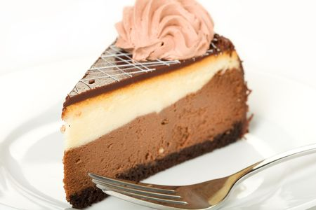 jimmies: Layered chocolate cheese cake with ganache top and mousse