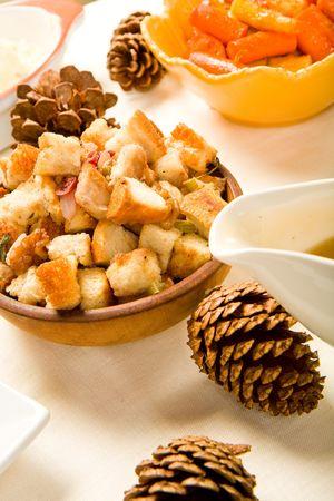 stuffing: Cranberry Walnut Stuffing in wood bowl Stock Photo