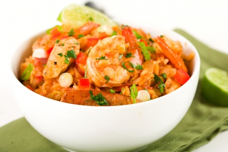 Spicy Cajun jambalaya packed with sausage, shrimp and chicken photo