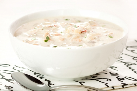 Creamy new England clam chowderon in Bowl Stock Photo