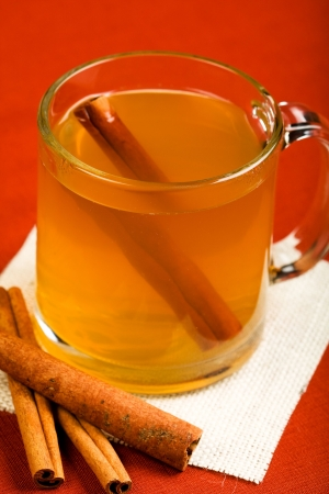 mulled: Hot mulled apple cider with cinnamon stick