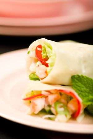 Shrimp rolled with scallion, cucumber, napa cabbage, mint and basil