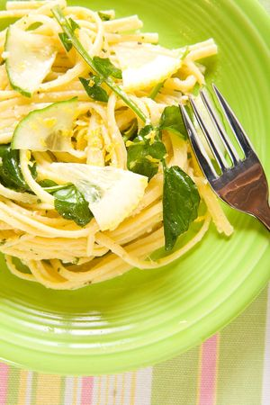 Lemon pasta with watercress and cucumber