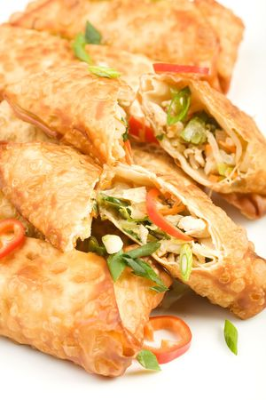 freshly cooked fried egg rolls filled with chicken Stock Photo - 6292506