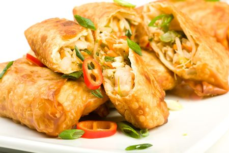 freshly cooked fried egg rolls filled with shrimp Stock Photo - 6292512