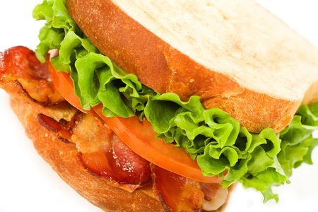 Bacon, Letuce and Tomato sandwich on lightly toasted thickly sliced homemade bread Reklamní fotografie