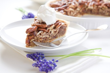 dollop: Pecan Pie Slice with generous dollop of whipped cream
