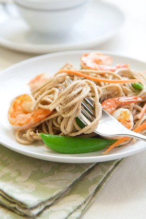 soba: Cold soba noodle salad with shrimp, peas, and carrots