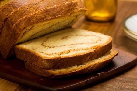 freshly made cinnamon swirl bread on bread board