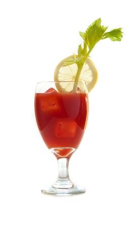 Bloody mary drink isolated on white photo