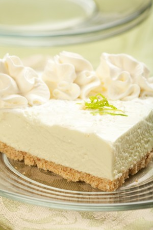 tangy: Tangy, refreshing key lime pie on glass plate