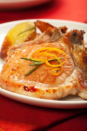 Brined pork chops baked with potatoes
