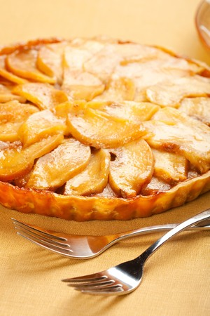 apple tart: Whole caramel apple tart Stock Photo
