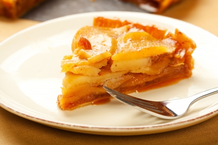 Fresh caramel apple tart slice photo