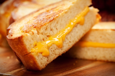 melted cheese: Toasted crispy on the outside, chewy on the inside hot grilled cheese sandwiches