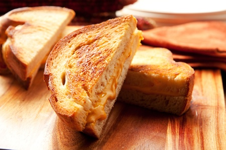 toasted: Toasted crispy on the outside, chewy on the inside hot grilled cheese sandwiches