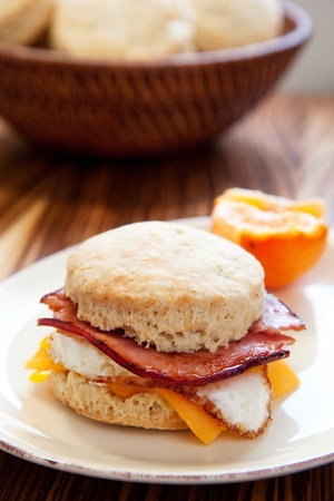 Ham, egg and cheese on a light fluffy biscuit