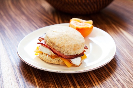 Ham, egg and cheese on a light fluffy biscuit Stock Photo - 8710378