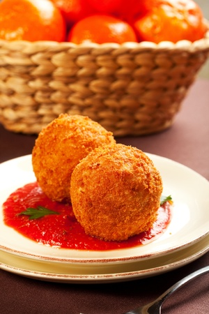 risotto: Deep fried balls of arborio rice stuffed with mozzarella cheese