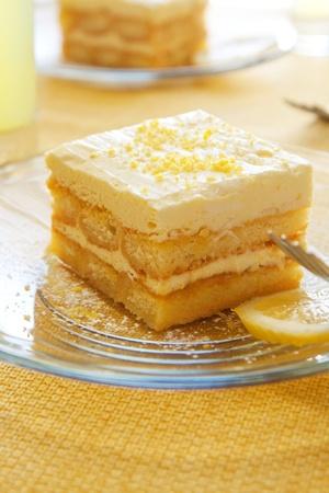Lemoncello syrup soaked lady fingers layered with light lemon custard