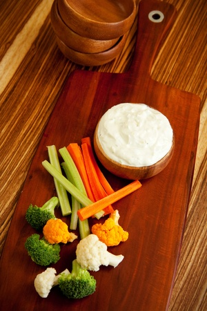 crudite: Tzatziki a cool and cream dip accompanied by vegetables Stock Photo