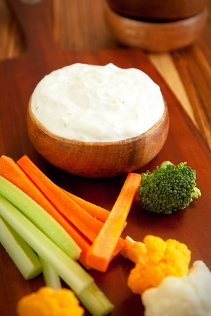 Tzatziki a cool and cream dip accompanied by vegetables Stock Photo