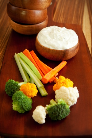 tzatziki: Tzatziki a cool and cream dip accompanied by vegetables Stock Photo