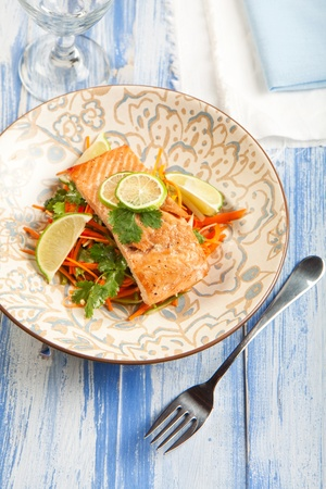 Asian influenced Salmon and carrot slaw Stock Photo