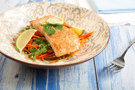 influenced: Asian influenced Salmon and carrot slaw Stock Photo