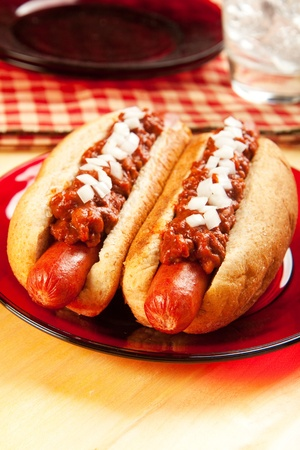 Perfect for the big game, a picnic, or anytime chili dogs with onions photo