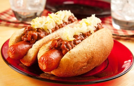 german food: Perfect for the big game,  picnic, party or anytime, chili dogs with sauerkraut.