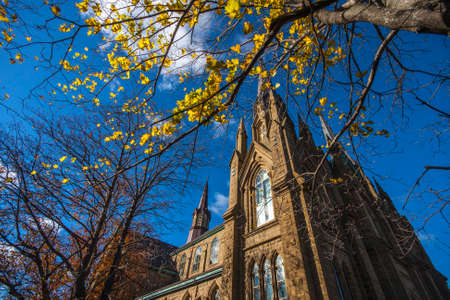 Exterior view of St. Dunstan's Basilica Cathedral of Prince Edward Island, Canada during Autumn