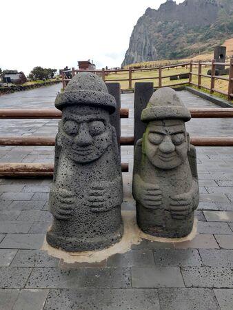 Dol hareubang grandfather statue at Seongsan Ilchulbong, Jeju Island, South Korea