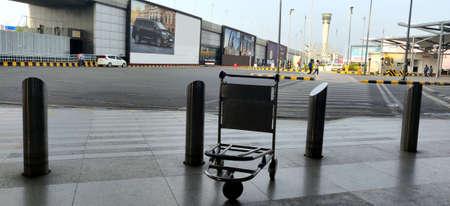 Empty bag trolley at International airport of Delhi in June 2020 amidst corona virus pandemic at Indira Gandhi International Airport n Delhi, India