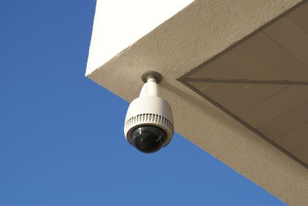 White and black security cctv camera to prevent crime