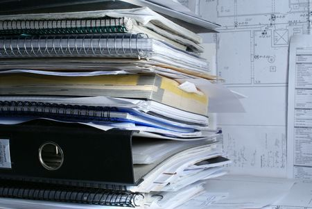 A lot of documents in office on table            Stockfoto