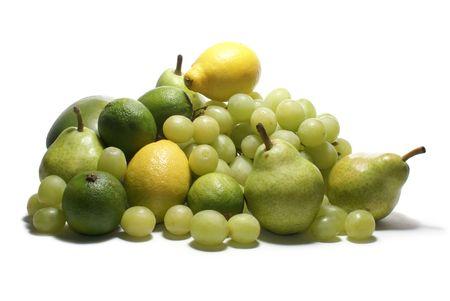 Set of green tasty fruits isolated on white                  Standard-Bild