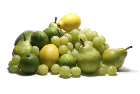 Set of green tasty fruits isolated on white                  Stockfoto