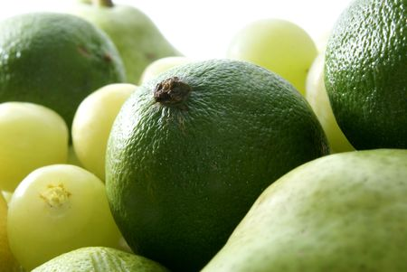 Set of green tasty fruits isolated on white Stock Photo - 854962