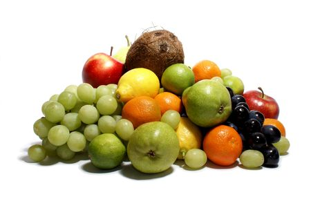 Set of different bright tasty fruits isolated on white Stock Photo - 854967