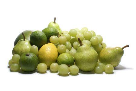 Set of green tasty fruits isolated on white                  photo
