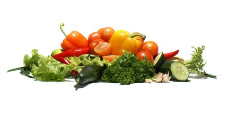 Different fresh tasty vegetables isolated on white background              Banco de Imagens