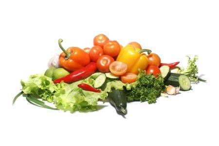 Different fresh tasty vegetables isolated on white background              Stockfoto