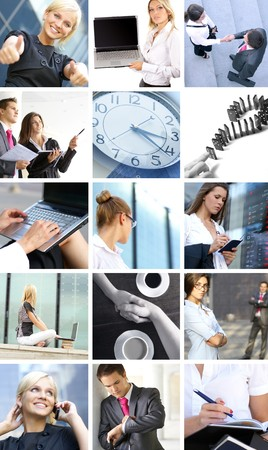 A collage of images with businesspeople doing different work photo