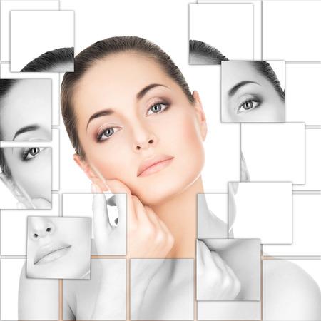 medicina natural: Retrato de mujer joven, sana y hermosa (la cirugía plástica, medicina, spa, cosméticos y concepto rostro)