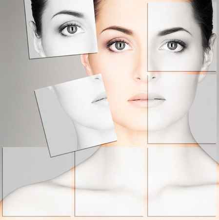 Chica joven, sana y hermosa (la cirugía plástica, medicina belleza, cosméticos y rostro mosaico concepto)