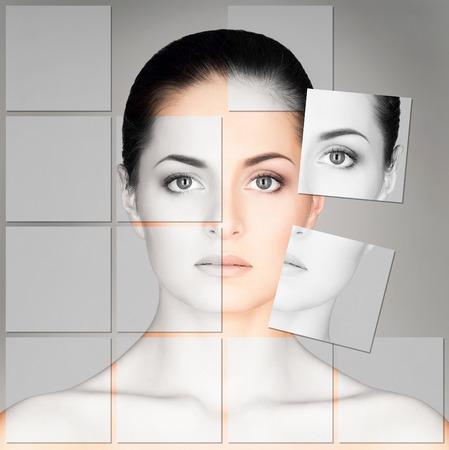 Portret van een jonge, gezonde en mooie vrouw (plastische chirurgie, geneeskunde, spa, cosmetica en gezicht concept) Stockfoto